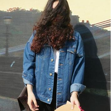 Wind Autumn And Winter Women Denim Jacket  Oversize Loose Female Jeans Coat Solid Slim Chaquetas Mujer
