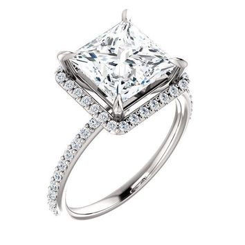Princess/Square Moissanite Diamond Accent Ice Halo Ring