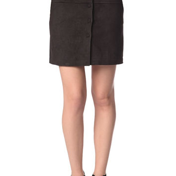 Q2 Black Mini Skirt In Suede With Button Front