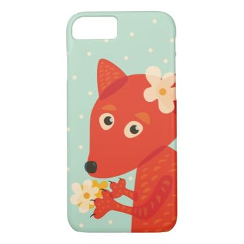 Flowers And Cute Fox iPhone 7 Case