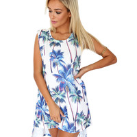 Palm Tree Printed Asymmetrical Mini Dress