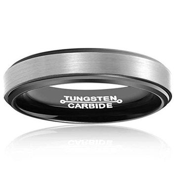 4mm Black Tungsten Carbide Ring Two Tone Wedding Jewelry Engagement Promise Band Matte Finish (Platinum)