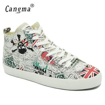 CANGMA Handmade Brand Sneakers Women Trainer Genuine Leather Shoes British Flag Woman's Printing Flats Shoes Mid White Footwear