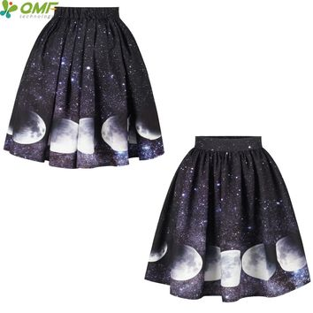 3D Moon Phase Print Skater Skirts Pleated A-Line Tennis Skirts Saia Party Skirt Flared Knee-Length Women Faldas Midi Skirt