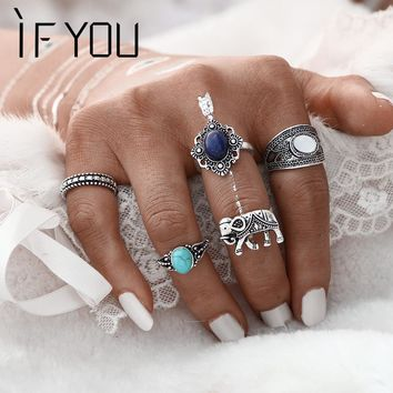 IF YOU 5PCs/Set Vintage Artificial Stone Turkish Ring Sets Elephant Midi Ring for Women 2017 Fashion Antique Stone Men Rings