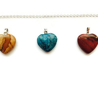 Three Heart Necklace, Heart Necklace, Gemstone Necklace, Healing Necklace, Chakra Necklace, Jasper Necklace, Agate Necklace, Wife gift