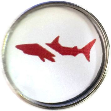 Scuba Diver Down Flag on Shark 18MM - 20MM Fashion Snap Jewelry Snap Charm New Item