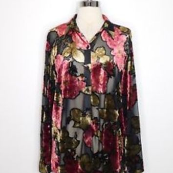 womans black burgundy IMPRESSIONS sheer burnout velvet shirt Plus sz XL L37-34