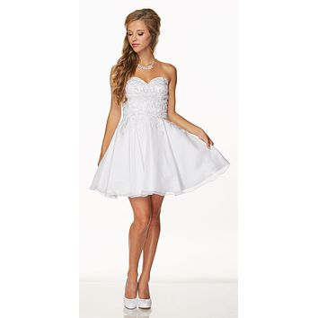 Juliet 772 White Strapless Corset Back Homecoming Party Dress