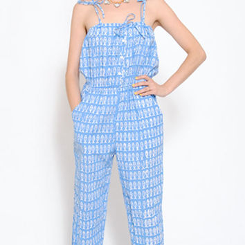 SALE . 50% OFF . Fish Print Jumpsuit . 80s Overalls . 1980s Coveralls