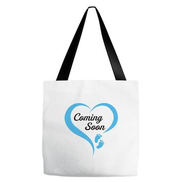 coming soon baby boy maternity design Tote Bags