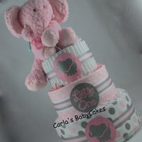 Pink & Grey Baby Diaper Cake, Elephant Diaper Shower Cake, Girls Diaper Cake, Baby Shower Centerpiece, Baby Shower Gift, New Baby Gift,