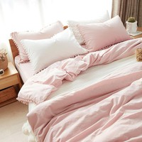 On Sale Home Hot Deal Comfortable Bedroom Cotton Rinsed Denim Bed Sheet Quilt Case [45989986329]
