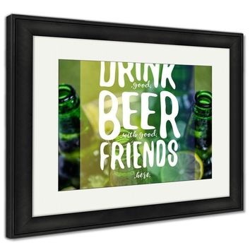 Framed Print, Bucket Full Of Ice And Beer Bottles