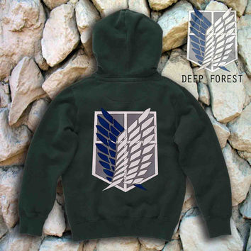 Attack on Titan Shingeki Deep Forest back men's S,M,L,XL,XXL, beautyful hoodie by : jozztshirt