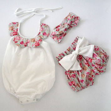 2015New arrival baby toddler summer boutiques baby girls vintage floral ruffle neck romper cloth with bow knot shorts headband