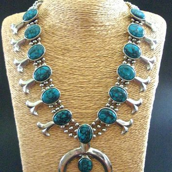 GOLDETTE Squash Blossom Turquoise Necklace Faux, Naja, Ball Chains, Vintage