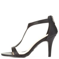 Black Bamboo T-Strap Single Sole Heels by
