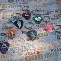 Religious Key Chain, 16 Colors Choice Guitar Pick, Jesus Icthus, I love Jesus, Fleur de Lis, Star of David, Bible, Angel Wing, I Love God