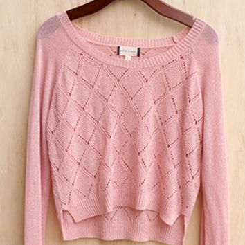 Preppy Pastel Cropped Knit Sweater, Blush Pink