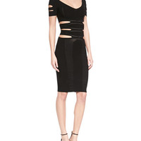 Cushnie et Ochs Cutout Knit Sheath Dress, Black