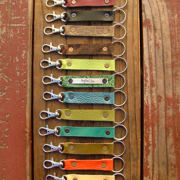 Custom Hand Cut Leather Key Lanyard Key Ring with Optional Personalized Custom Hand Stamped Metal Accents by MyBella