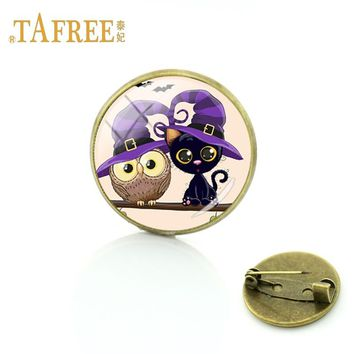 TAFREE lovely Owl and Black Cat  Best Friend souvenir Handmade Craft  Brooch friend unique gift pin Jewelry FQ161