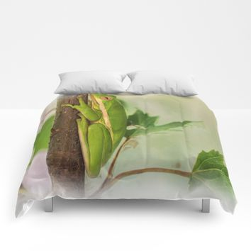 Painted Green Tree Frog Comforters by Scott Hervieux