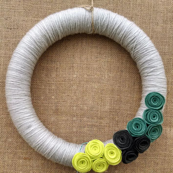 Grey yarn and felt rosette flower wreath, yarn felt wreath, mantel decor, door decor, floral wreath, chartreuse large 14 inch, READY TO SHIP