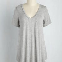 Yours Chill the End Top in Grey | Mod Retro Vintage Short Sleeve Shirts | ModCloth.com