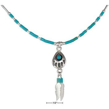 "Sterling Silver Necklaces: 16"" Liquid Silver Simulated Turquoise Bearpaw & Feathers Necklace"