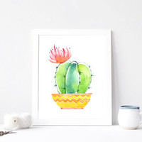 Cactus print, Succulent poster, Giclee wall art, Plant Garden Art, Aquarelle Flowers,  Print Printable, Watercolor, DOWNLOAD 8x10