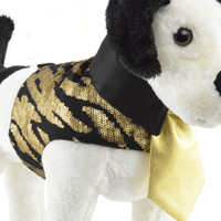 Black and Gold Tiger Print Sequined Dog Harness Jacket and Tie