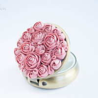 Pill Box or Mint Box - Pink and White flowers, Silver Tone