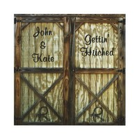 Barn Door Cowboy Wedding Personalized Announcements from Zazzle.com