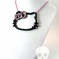 HELLO KITTY BLING - Black Laser Cut Acrylic and Pink Rhinestone Silhouette Charm Necklace