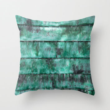 Turquoise abstract decorative pillow, teal striped photo cushion art, indoor outdoor patio soft furnishing, modern new zealand home decor