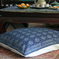 "30"" Boho Floor Pillow, Hmong Indigo Batik Pillow, Large  Ethnic Floor Cushion Cover, Free Worldwide Shipping"