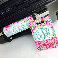 Roses Monogram Luggage Handle & Bag Tag Set