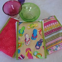 Burp Cloths - flip-flop sandal motif fabric coordinate with pink fabrics and lime green ribbon, sewn on diaper