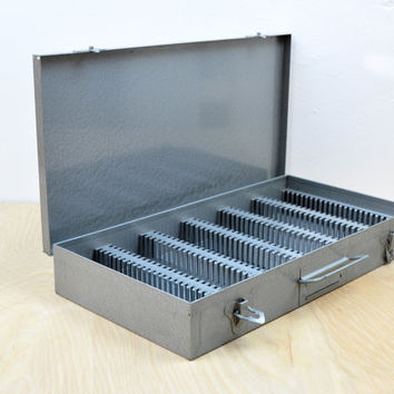Vintage Brumberger Gray Metal Slide Storage Box , Photographic Slides Organization , Industrial Metal Box