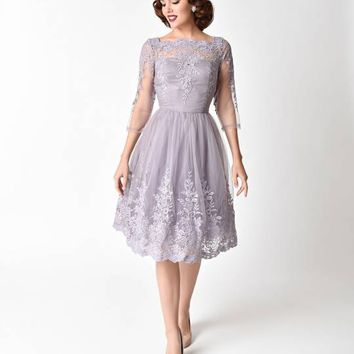 Chi Chi London 1950s Style Lilac Purple Mesh Sleeved Geri Swing Dress