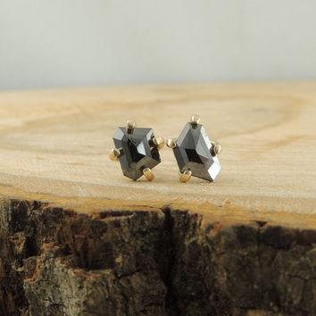 14k Gold Black Diamond Studs // Rose Cut Black Diamond Earrings