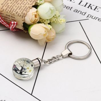 """Doreen Box Glass Dried Flower Keychain & Keyring Round Silver Color Transparent Tree LED Light Up 10.2cm(4"""") x 3cm(1 1/8""""), 1 PC"""