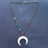 Crescent Moon Asymmetric Turquoise Necklace Horn Choker White Double Tusk Bone Asymmetrical Charm Pendant