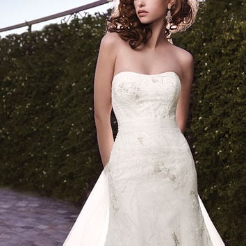 Casablanca Bridal 2122 Strapless Tulle Fit & Flare Wedding Dress