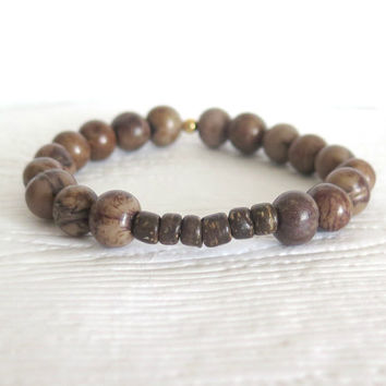 Acai Beaded Bracelet in Khaki Brown with Coconut Heishi, Unisex Acai Bangle, Organic Natural Seed Bead Jewelry, Earth Day, Eco Friendly