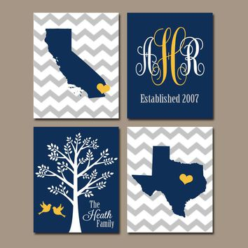 TWO STATES Wall Art, Family Canvas or Prints Family Couple Gift, Personalized Wedding Gift Tree Birds Monogram Est Date Set of 4 Navy Yellow