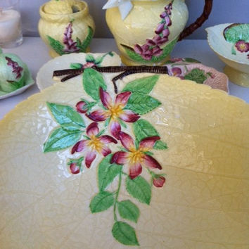 Carlton Ware Apple Blossom comport dish!! Beeeautiful large, vintage English china leaf shaped serving footed bowl!