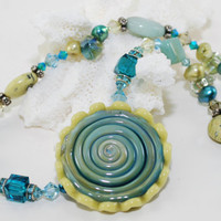 Lampwork Bead Necklace Turquoise Sterling Silver